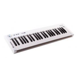 AXELVOX KEY49j white MIDI-клавиатура 4-октавная (49 клавиш) динамическая MIDI-клавиатура USB, 3 кнопки, джойстик (Pitch Bend и Modulation), 1 программируемый фейдер, вход Sustain педали, выключатель питания, питание от USB. Цвет белый.