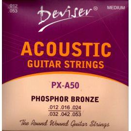 DEVISER PX-A50 Набор 6 струн для акустической гитары фосфор - бронза 0.12 - 0.53