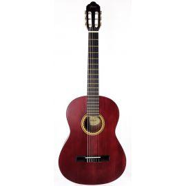 VALENCIA VC203TWR Гитара классическая размера 3/4, верхняя дека: ель, нижняя дека и обечайка: нато, гриф: жабон, накладка грифа и нижний порожек: махагон, колки: винтажные, никель, цвет Transparent Wine Red