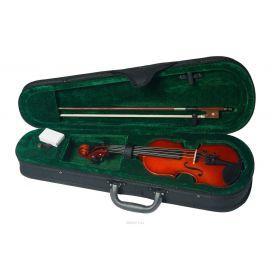 CREMONA GV-10 1/16 скрипка с футляром, смычком и канифолью.Верхняя дека: ель,Нижняя дека, обечайка, гриф: клен,Накладка на гриф: окрашенный палисандр,Струнодержатель, подбородник: черный бакелит,Струнодержатель с машинками,Смычок: деревянная трость, пал