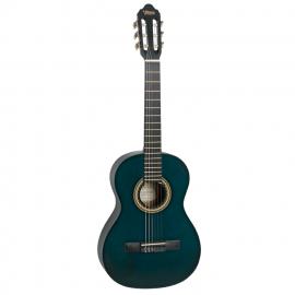 VALENCIA VC203TBU Гитара классическая 3/4, верхняя дека: ель, нижняя дека и обечайка: нато, гриф: жабон, накладка грифа и нижний порожек: махагон, колки: винтажные, никель, цвет Transparent Blue