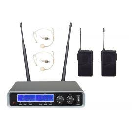 B&G IU-208G Радиосистема вокальная, UHF 500-980MHz, PPL 2000 переключаемых частот, Led дисплей,  2 головных микрофона