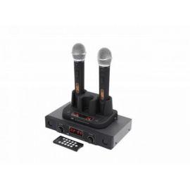 AST-901M двухканальная беспроводная микрофонная система с двумя кардиоидными динамическими ручными передатчиками и одним двухканальным приёмником.
