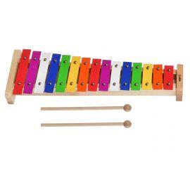 DEKKO TG-15 Металлофон детский диатонический, 15 нот, диапазон G5-G7, на деревянной основе, разноцветные пластины