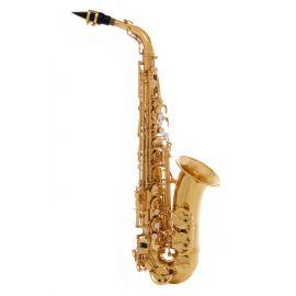 JOHN PACKER JP045G Саксофон альт Eb, золотой лак, двойной вал B и C.высокий клапан F#, фронтальный клапан F, итальянские кожаные подушки с резонаторами.