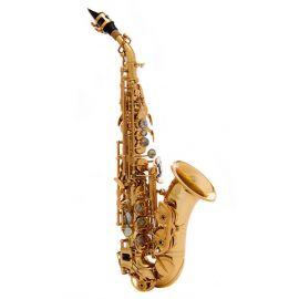 JOHN PACKER JP043CG Саксофон сопрано Bb, золотой лак,высокие клапаны F# и G, фронтальный клапан F, итальянские кожаные подушки с резонаторами, пружины из вороненой стали.