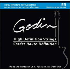 GODIN 008971 E-9 Комплект струн для электрогитары, 9-46, Super Tops/Regular bottoms