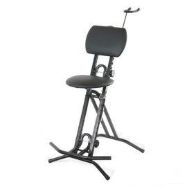 ZZ-Stands AGST-15 + AGH Комфортабельный и устойчивый стул для гитаристов, регулировка подставки под ногу и откидного сидения.  Входит в комплект крючок для подвеса гитары (GH-GS)