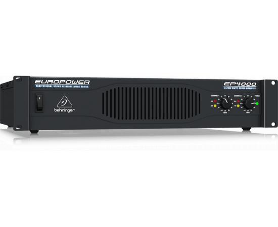BEHRINGER EP4000 усилитель 2-канальный. Мощность (на канал): 2000Вт•2Ω, 1400Вт•4Ω, мост 4000Вт•4Ω, клеммный зажим+Speakon
