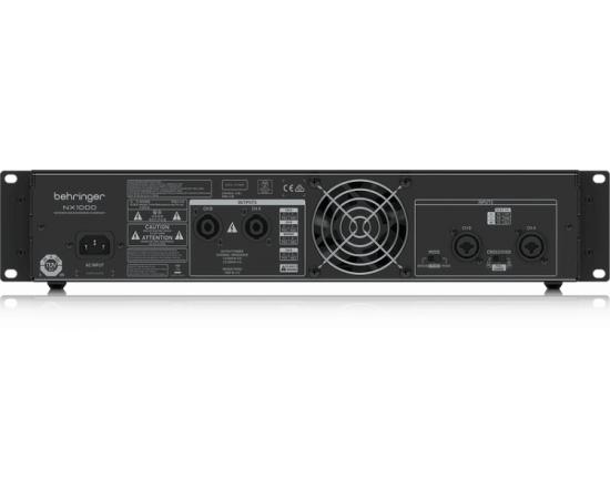 BEHRINGER NX1000 усилитель 2-канальный. Мощность пик. 2 x 500Вт•2Ω/300Вт•4Ω/160Вт•8Ω, мост 1000Вт•4Ω/620Вт•8Ω, Speakon/комбо-XLR, кроссовер